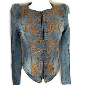 Vintage Denim Jacket Skulls Embroidery Corset S